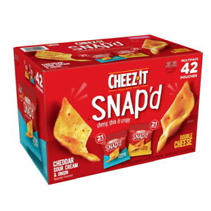 Cheez-It Snap'd Cheddar Cheese Crackers Variety Pack (.75 OZ 42 pack) GREAT DEAL