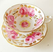 """"""" SWANSEA ROSE """" GROSVENOR BONE CHINA ENGLAND CUP AND SAUCER GILT PINK ROSES"""