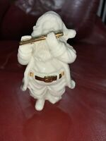 "2000 Distinctively Lefton Santa Claus Playing Flute 4 1/2"" Figurine White Gold"