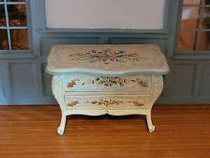 DOLLHOUSE MINIATURE ARTISAN HAND PAINTED FLORAL BOMBE CHEST