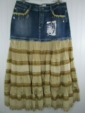 Crest Jeans Denim Skirt Long Maxi Boho Hippie Size 15/16 New