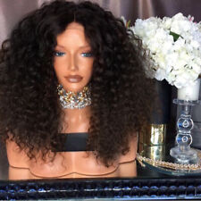 Women Fashion Synthetic Long Afro Kinky Wavy Curly Wig Brown Hair Full Wigs US
