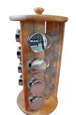 New Large Wooden Spice Rack Set Herb Round 12 Glass Jars Lids Stand Holder 32cm