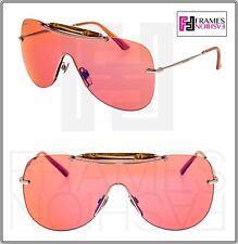 GUCCI Shield GG4262S Palladium Pink BAMBOO Mirrored Sunglasses 010DW GG4262 S