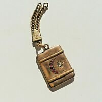 Victorian fob locket. crescent moon star. Gold gold fill. Ruby Paste Stones.