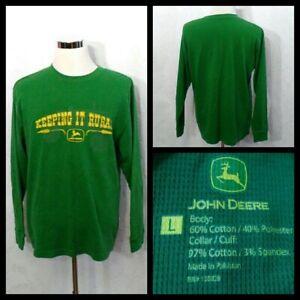 John Deere Shirt Men's Lg Green w/Yellow Logo Long Sleeved Crew Neck Inv#Z1994