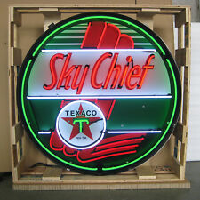 """Texaco Sky Chief Vintage 36 Inch Neon Light Sign In Metal Can 36"""" by 36"""" by 6"""""""