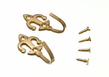 NEW CURTAIN TIE BACK HOLD BACK HOOKS FLEUR DE LYS SOLID BRASS + SCREWS (8 PAIRS)