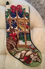 Needlepoint Christmas Stocking Two Cats Santa Red Velvet Finished Linen Lined
