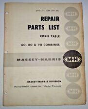 Massey Harris Corn Table Parts Catalog Manual Book (used on 60 80 90 Combines)