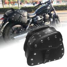 Black PU Leather Saddle bag For Kawasaki Vulcan VN 800 900 1500 1600 1700 2000