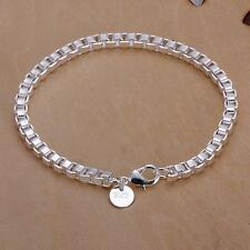beautiful Fashion silver Plated 4mm chain pretty bracelet WOMEN MEN jewelry new