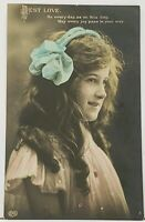 RPPC Best Love Girl Side View Blue Bow 1918 to Montoursville Pa Postcard I20