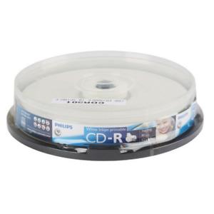 Philips CD-R Inkjet Printable | Blank Recordable White CD Discs In Sleeves