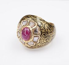 Mughal Style 14k Gold Ruby Diamond Floral Hand Painted Enamel Ring Size 7 RG1536