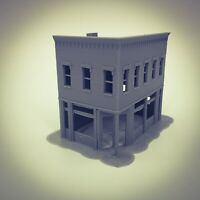 N Scale Downtown 40s-50s style Basic Building #2   3D Printed