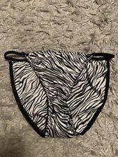 Vintage Jolie Intimates Satin String Bikini Sz L Zebra Patern Black White