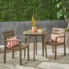Brown Acacia Wood Frame 3 Piece Bistro Set Home Outdoor Furniture Garden Porch