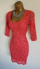 Jane Norman sexy coral pink sequin mini dress pencil bodycon evening occasion 8