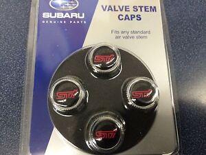 Subaru STI Tire Valve Stem Caps Set Forester Impreza Legacy Outback WRX Genuine