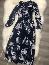 Yumi Kim NWT Blue Floral Dance Print Maxi Dress Hijabi Long Sleeve Modest Small