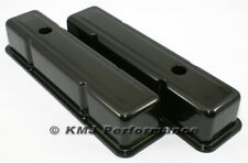 58-86 SBC Chevy 350 Black Tall Steel Valve Covers - Small Block 283 305 327 400