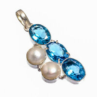 """Blue Topaz,River Pearl Natural Gemstone Silver Plated Jewelry Pendant 2.22"""""""