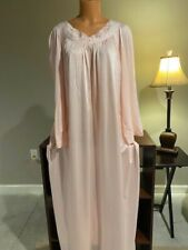 Pretty Pink Brushed Back Nylon Shadowline Long Ladies Nightgown 2X