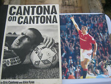 eric cantona  hard back book and picture with signature-on print picture