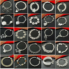 wholesale solid 925sterling silver jewelry chain bracelet charm bangle xmas gift