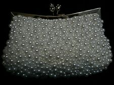 WHITE IVORY PEARL Hand Bead BIRDAL Evening Bag CLUTCH B008