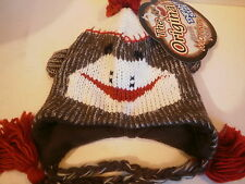 Infant Sock Monkey Hat New Fleece Lined Boy or Girl Youth Kids Cute Funny Warm