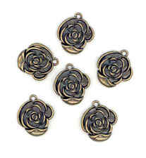 Antique Brass Vintage Look Roses, Charms for Jewellery, Beading & Crafts