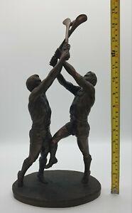 Vintage Large 39cms 2.2kg Bronze Gaelic Hurling Sport Statue Figurine Sculpture