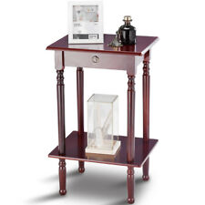 End Table Tall Wood Side Table Accent Style Telephone Stand Table Shelf