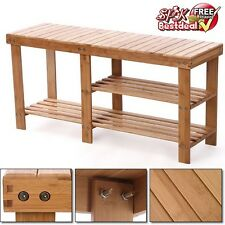 Shoe Rack Storage Bench Chair Rustic Organizer Seat Boot Shelf Hall Furniture