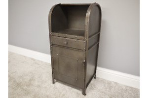Industrial Metal Bedside Cabinet - Single Door and Drawer Storage