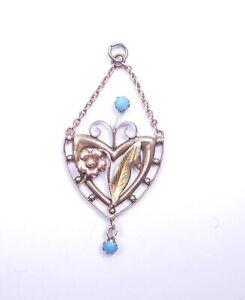 Art Nouveau 9 carat rose gold pendant turquoise