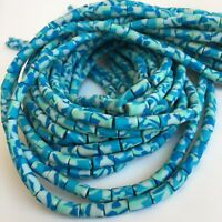 45cm Strand Blue Army Pattern Polymer Clay Beads 11x6mm Tube Craft Bead