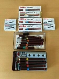 ROTRING ISOGRAPH PENS WITH MANY ACCESSORIES AND SPARES.