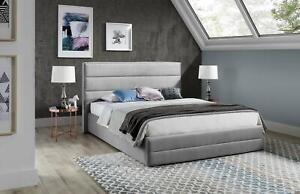 Designer Bed Textile Leather Hotel Metal Beds Double Sleep Room Bedstead