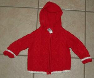 Girls 6 - 12 Months Red Wool Blend Full Zip Hooded Cardigan Sweater OLD NAVY