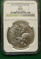 2012 New Zealand Kiwi  Silver $1 NGC  SP 69