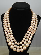 Kate Spade Rose Gold MOON RIVER 3 Row Light Pink Faux Pearl Pave' Bow Necklace