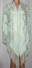 ERMANNO DAELLI LASER CUT GREEN SUEDE LEATHER FRINGED SHAWL WRAP TRIANGLE SHAPE