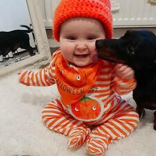 Infant Baby Boy Girl Halloween Pumpkin Striped Pajamas Sleepwear Outfit Romper L