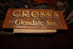 Antique Handpainted Wood Store Street Sign Double Sided CROSS'S GLENDALE AVE.
