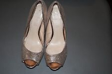 ALDO Women's Shoes Size 8 Gold Leather Glitter Platform Heels Stilettos Wedding