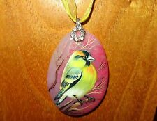 More details for pendant american goldfinch genuine russian hand painted pink stone yellow bird