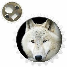 White Wolf Bottle Opener Fridge Magnet